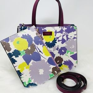 Kate spade medium satchel floral pouch crossbody